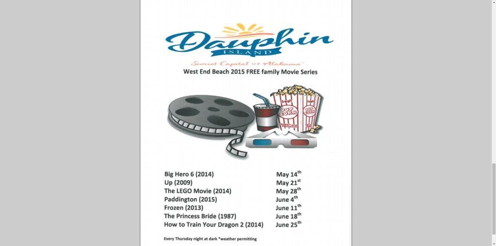 Movie schedule for Dauphin Island, AL