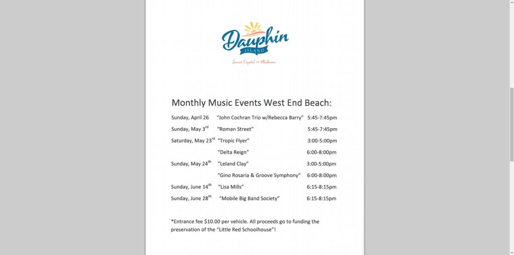 schedule of music events for Dauphin Island, AL