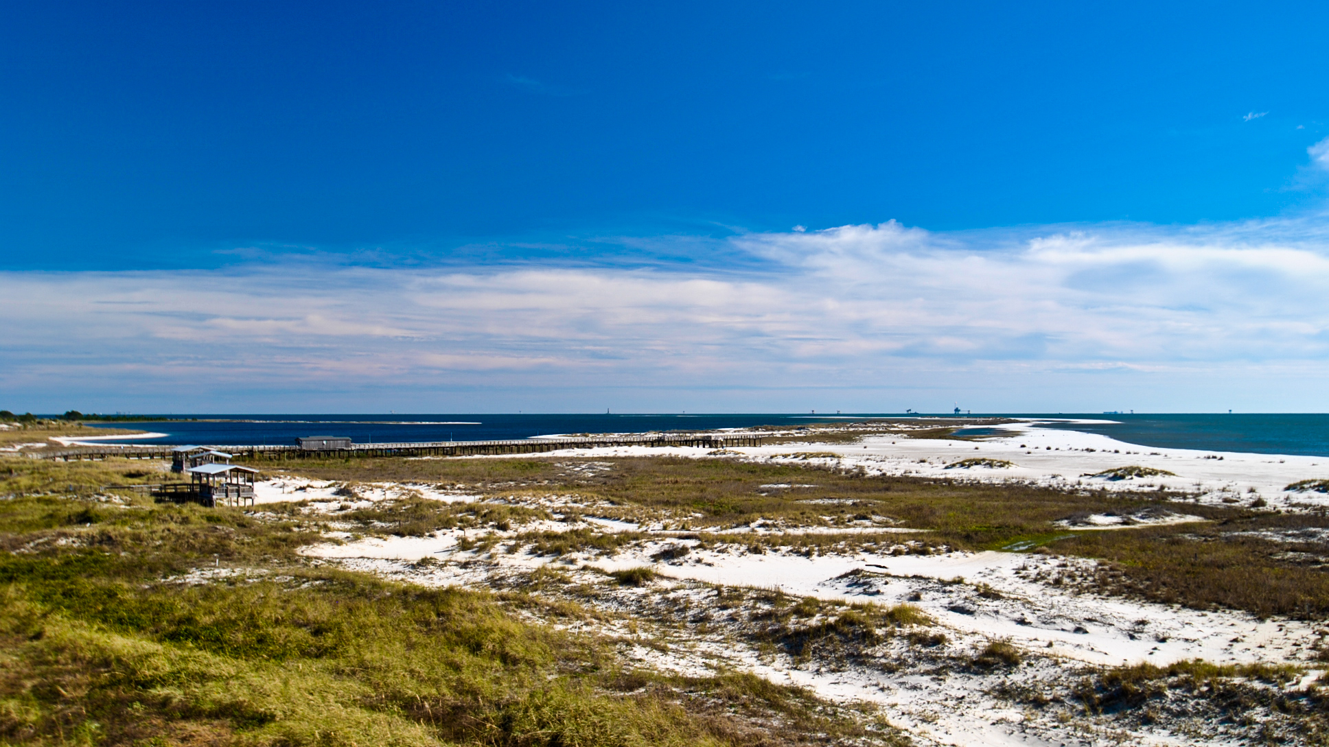 The Gulf of Mexico Beach, near the Holiday Isles Resort on Dauphin Island, Alabama taken in December 2015