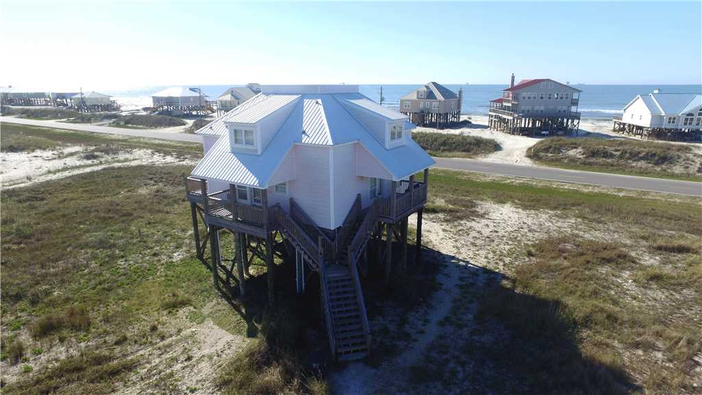 Surfs Up beach house vacation rental on Dauphin Island with Pool and Game Room