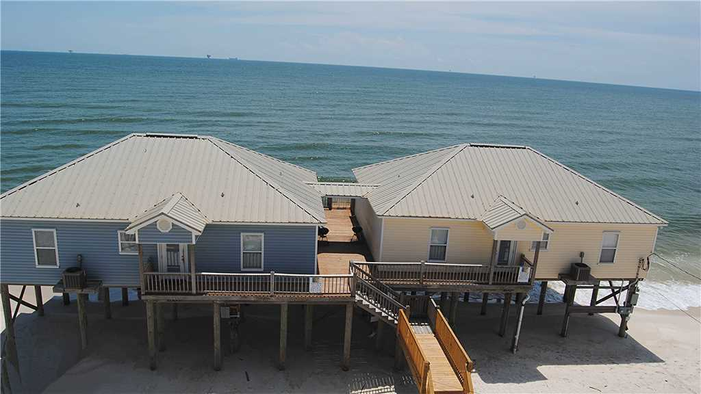 two adjacent beach houses for rent on Dauphin Island