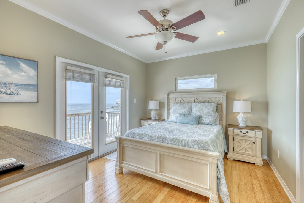 Master bedroom with walkout gulf view deck